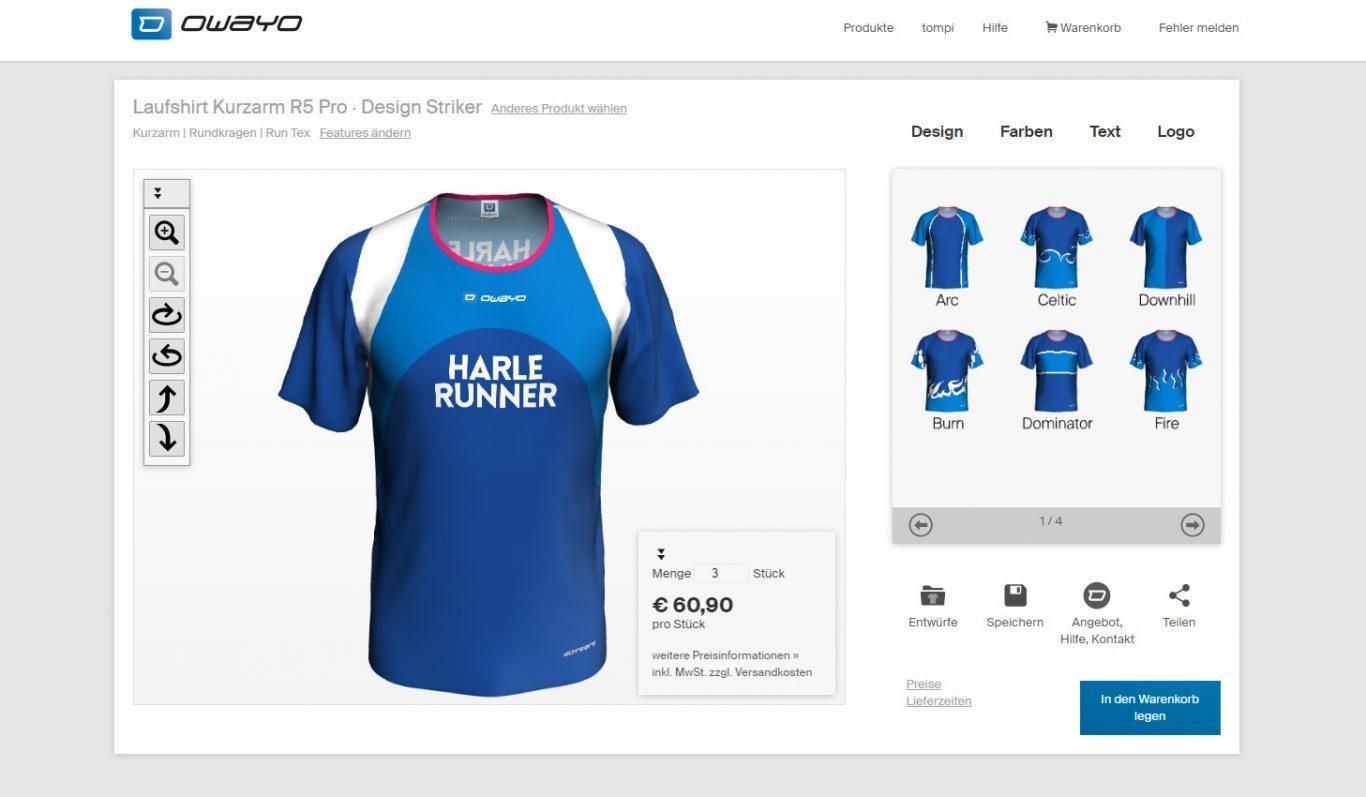 """Owayo-Laufshirt Design """"Striker"""""""