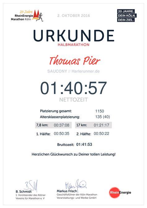 Urkunde Köln Halbmarathon 2016
