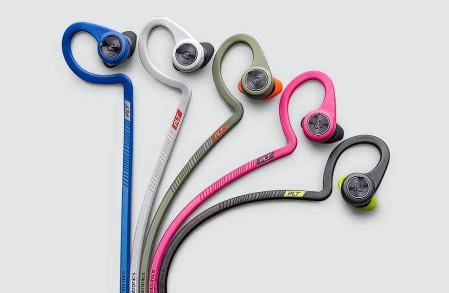 Die neuen Farben: Power Blue, Sport Grey, Stealth Green, Fit Fuchsia und Black Core (c) Plantronics