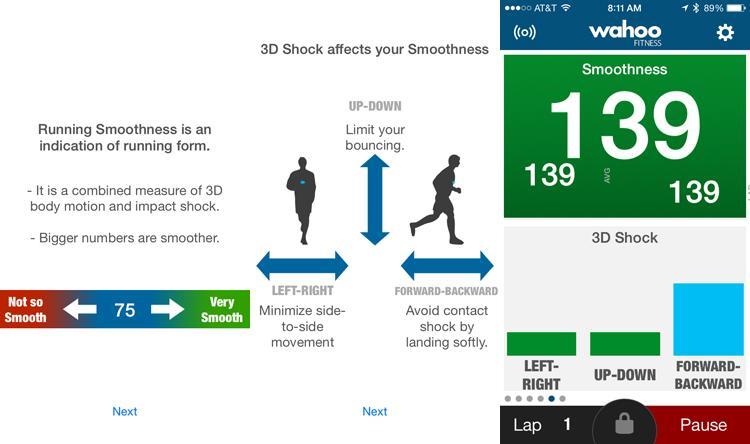 Wahoo Tickr X - Running Smoothness Anzeige unter iOS