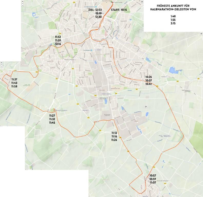 Roadmap mit Durchgangszeiten