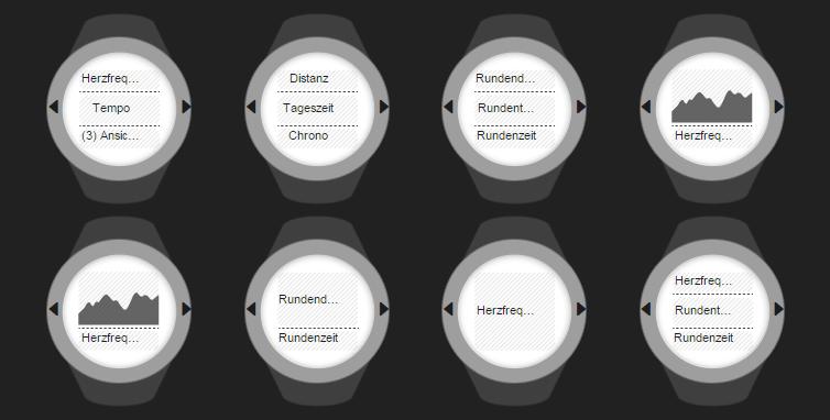 Suunto Ambit 2 R - Bildschirmkonfiguration
