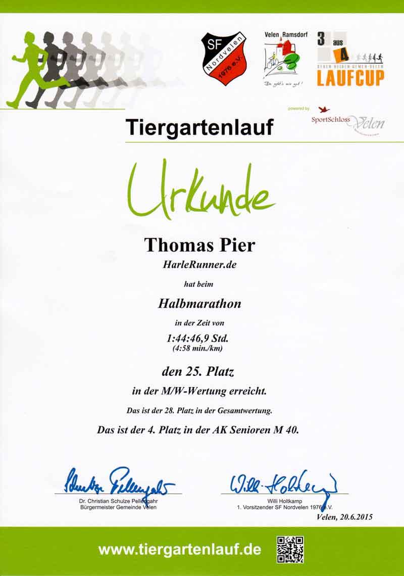 Tiergartenlauf Velen 2015 - Urkunde