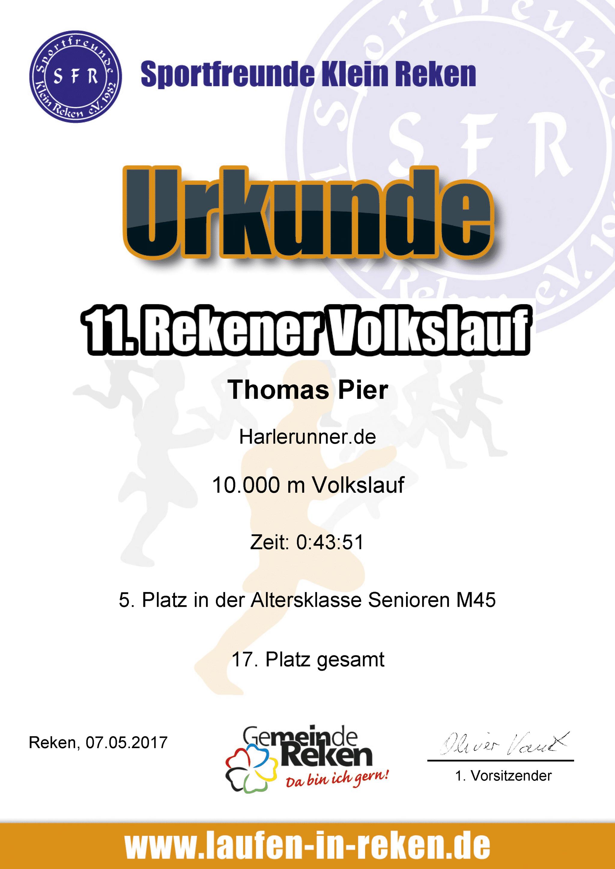 Urkunde Rekener Volkslauf 2017