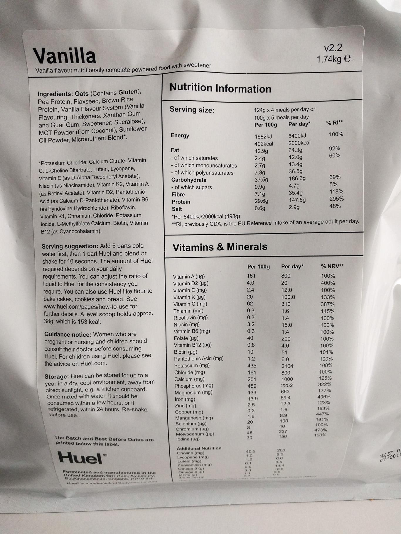 Huel Vanilla Inhaltsstoffe
