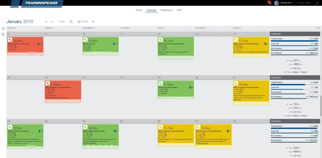TrainingPeaks Kalender
