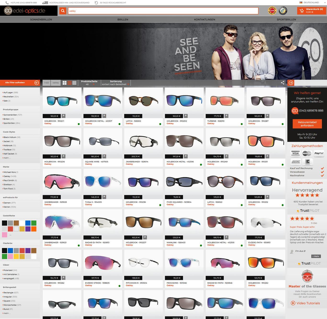Oakley-Auswahl im Shop von Edel-Optics.de